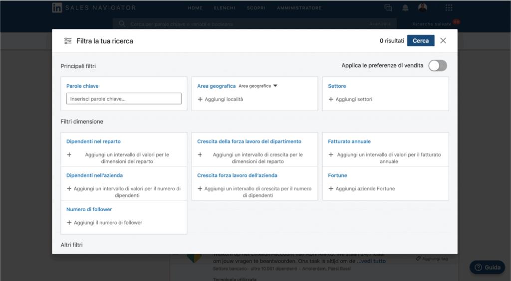 filtri ricerca sales navigator linkedin