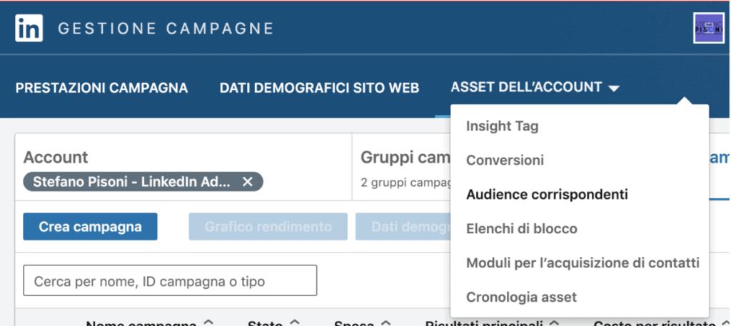 linkedin gestione campagne