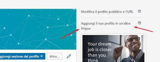 cambiare lingua profilo Linkedin