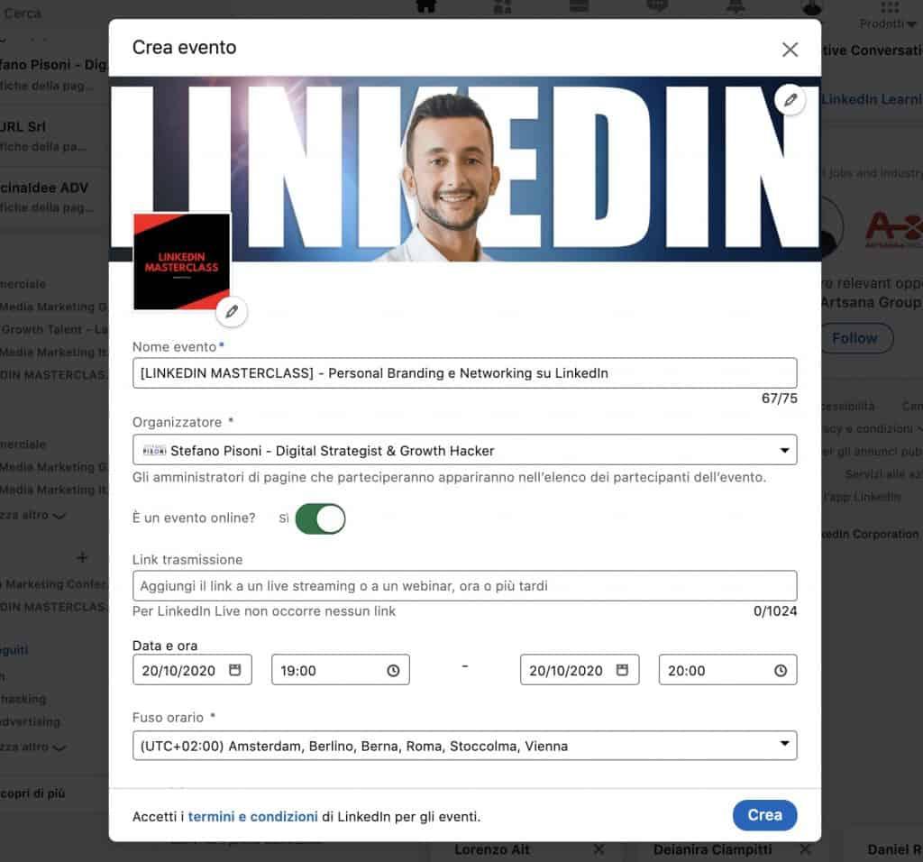 impostazioni evento LinkedIn